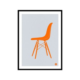 Eames Fiberglass Chair Orange by Naxart Studio Art Print