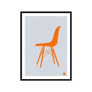 Eames Fiberglass Chair Orange by Naxart Studio Art Print