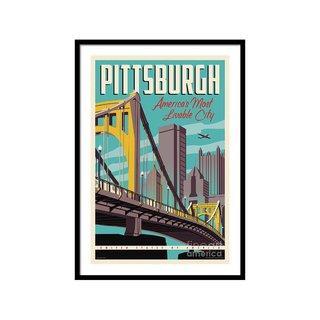 Pittsburgh Poster Vintage Travel Bridges by Jim Zahniser Art Print