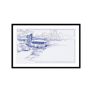 Fallingwater Blueprint by Larry Hunter Art Print