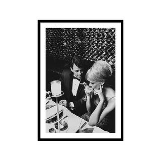 A Glamorous 1960s Couple Dining by Horn & Griner Art Print