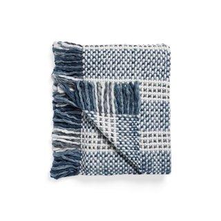 Arhaus Chunky Knit Blue and White Throw