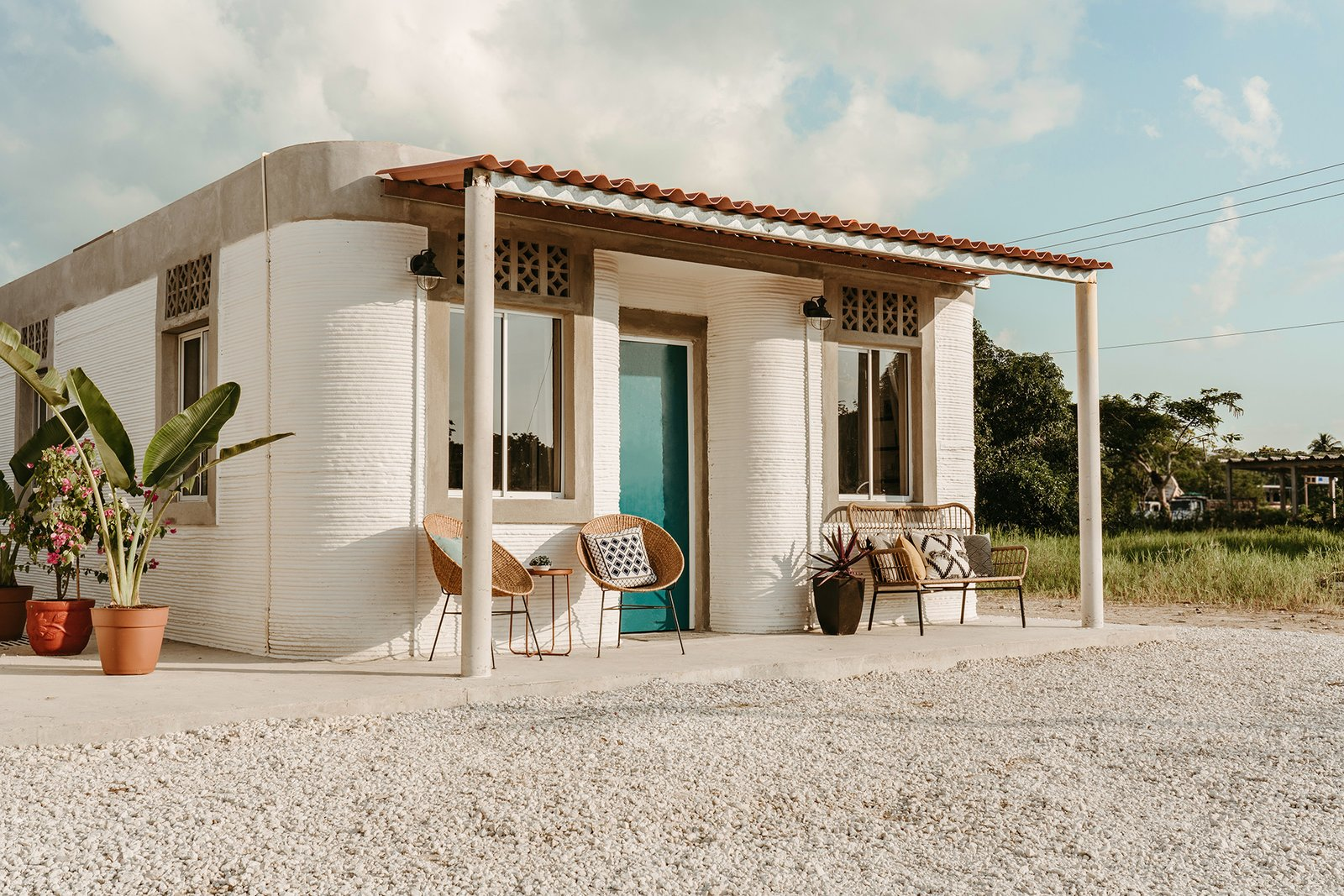 Image result for dwell: After 18 months of planning, ICON and New Story just unveiled two affordable 3D-printed homes in a groundbreaking development for Tabasco, Mexico.