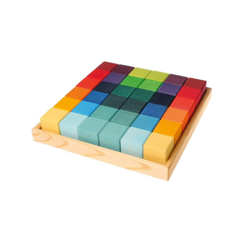 Grimm's Mosaic Square of 36 Wooden Cube Blocks With Storage Tray