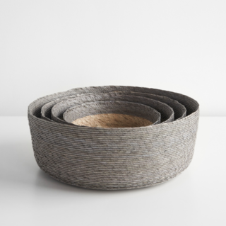 Unison Gray Band Round Basket Set of Four