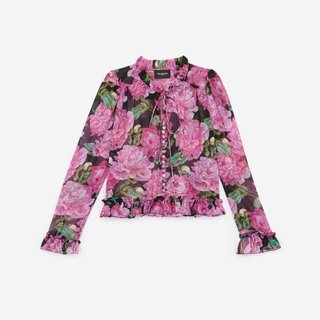 Kooples Floral Printed Frilly Shirt