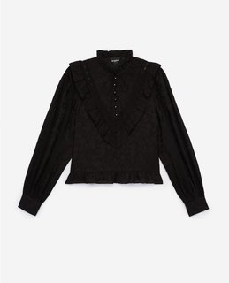 Kooples Frilly Short Black Top With Long Sleeves