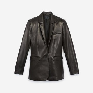 The Kooples Black Leather Jacket With Cropped Sleeves