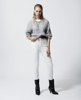 The Kooples Slim-Fit White Vintage Jeans with Chain Belt