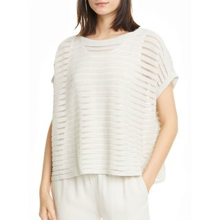 Eileen Fisher Boat Neck Organic Cotton & Recycled Nylon Knit Top