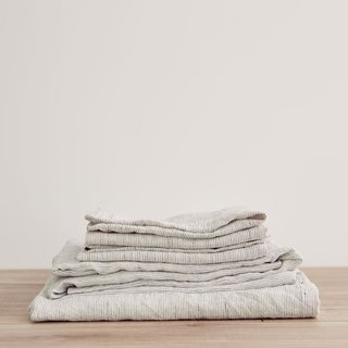 Cultiver Pinstripe Linen Sheet Set With Pillowcases