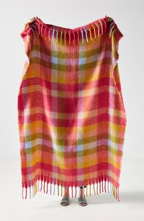 Anthropologie Happy Plaid Throw Blanket