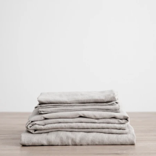 Cultiver Smoke Gray Linen Sheet Set With Pillowcases