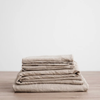 Cultiver Natural Linen Sheet Set With Pillowcases