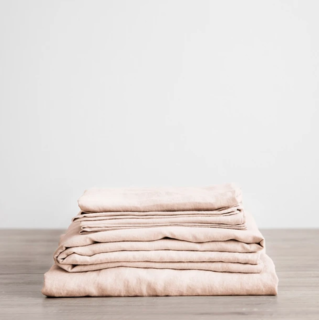 Cultiver Blush Linen Sheet Set With Pillowcases