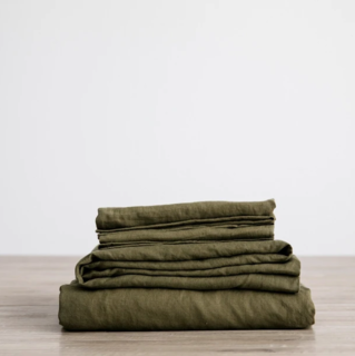 Cultiver Olive Linen Sheet Set With Pillowcases