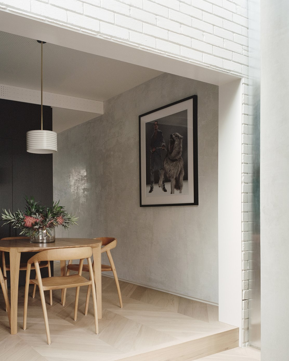 Dining Room, Chair, Medium Hardwood Floor, Table, and Pendant Lighting  Photo 9 of 16 in A Revamped Terrace House in Sydney Is an Audiophile's Dream