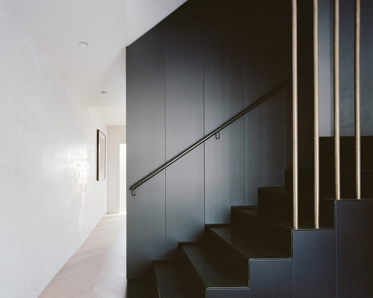 Staircase and Metal Railing  Photo 11 of 16 in A Revamped Terrace House in Sydney Is an Audiophile's Dream