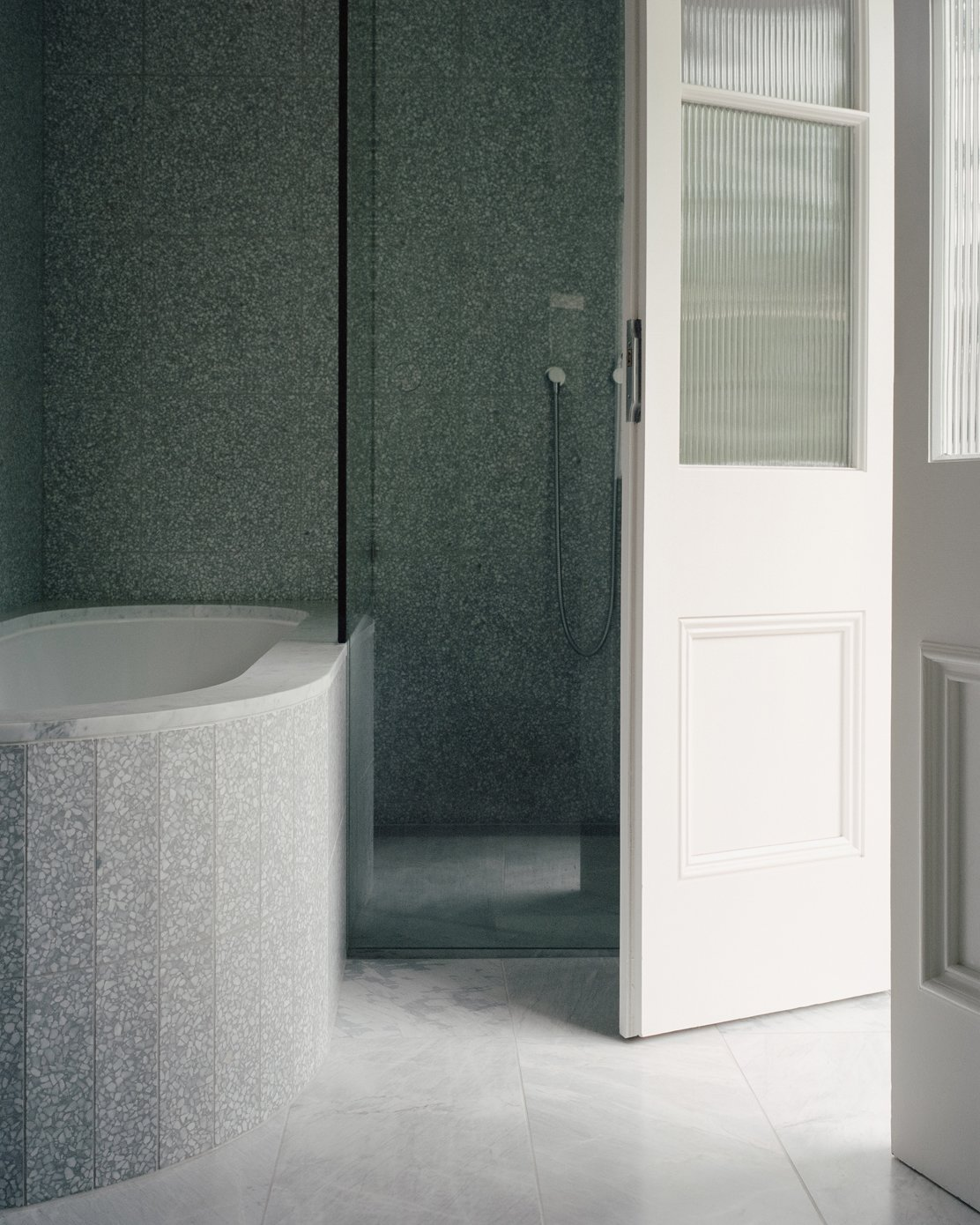 Bath Room, Ceramic Tile Floor, Enclosed Shower, Stone Tile Wall, and Alcove Tub  Photo 15 of 16 in A Revamped Terrace House in Sydney Is an Audiophile's Dream