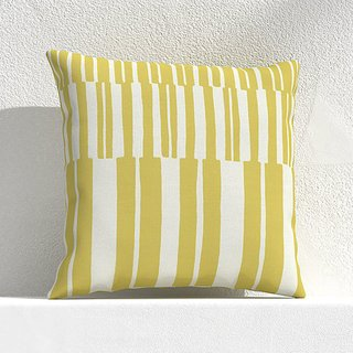 Crate and Barrel Striped Lines Bamboo Outdoor Pillow