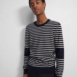 Theory Striped Crewneck Sweater in Merino Wool