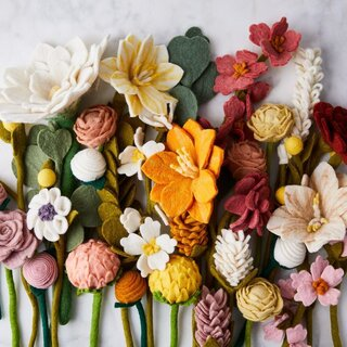 Global Goods Partners Handmade Felt Flower & Eucalyptus Bouquets