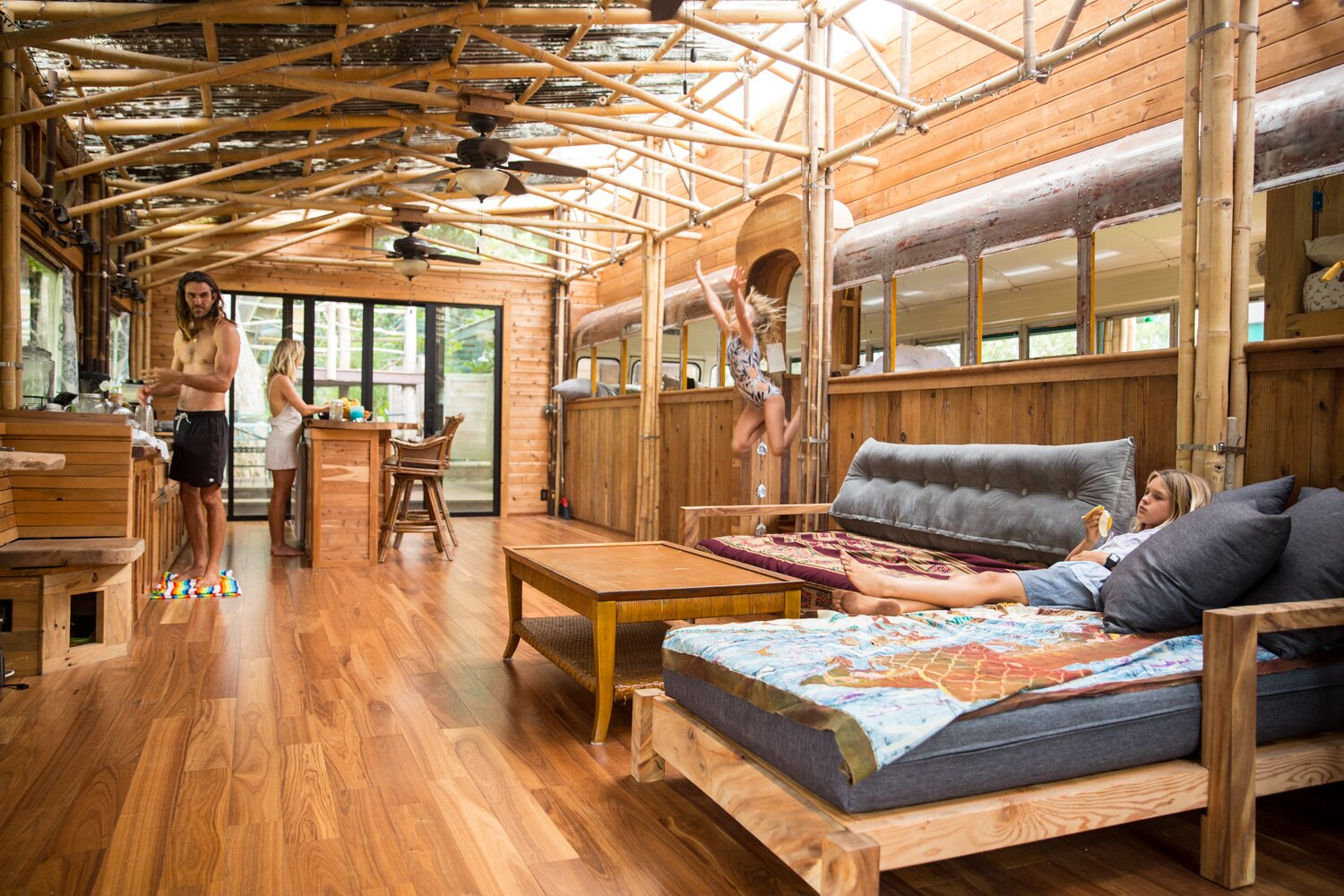 Photo 3 of 10 in These Legendary Surfers' Converted School Bus Connects to a Three-Story Tree House on Hawaii