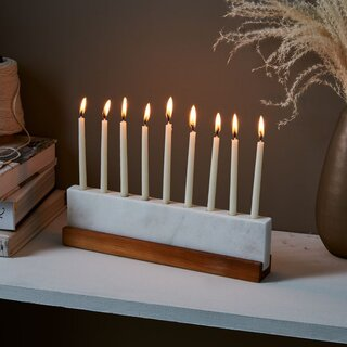 JK Adams Vermont Marble & Walnut Menorah