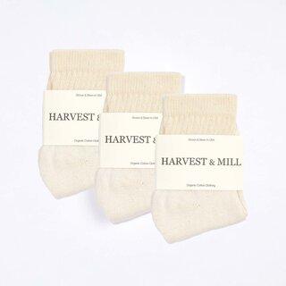 Harvest & Mill Women's 3 Pack Organic Cotton Socks - Natural-White Ankle