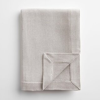 Dobby Gray and Ivory Throw Blanket