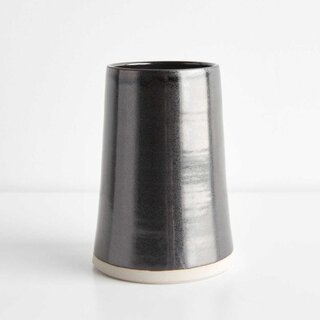 Thrown Gloss Black Large Vase
