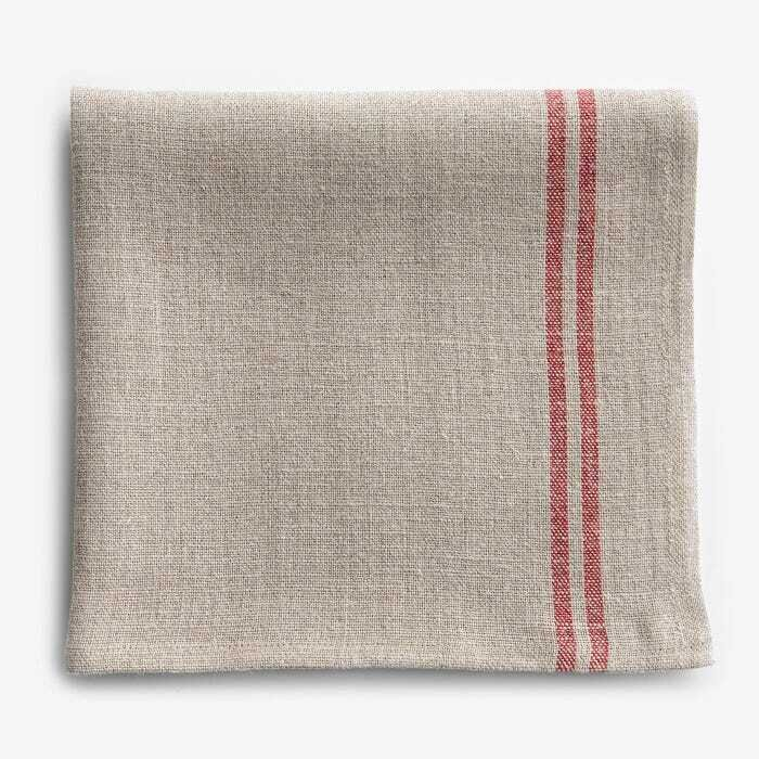 Linen Natural and Red Stripe Napkin