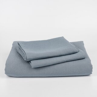 LateMornings Stone Blue Linen Duvet Cover Set