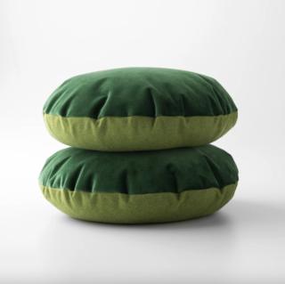 Schoolhouse Green Velvet + Wool - Circle Pillow