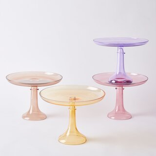 Estelle Colored Glass Hand-Blown Color Glass Cake Stand