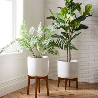 West Elm Mid-Century Turned Wood Planters - Solid White