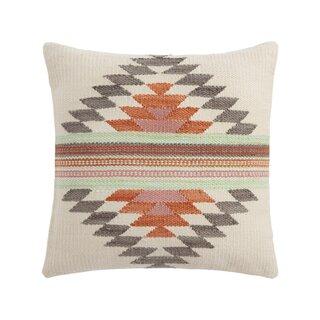 World Market Rust and Gray Diamond Indoor Outdoor Throw Pillow