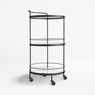 Crate and Barrel Noir Round Bar Cart