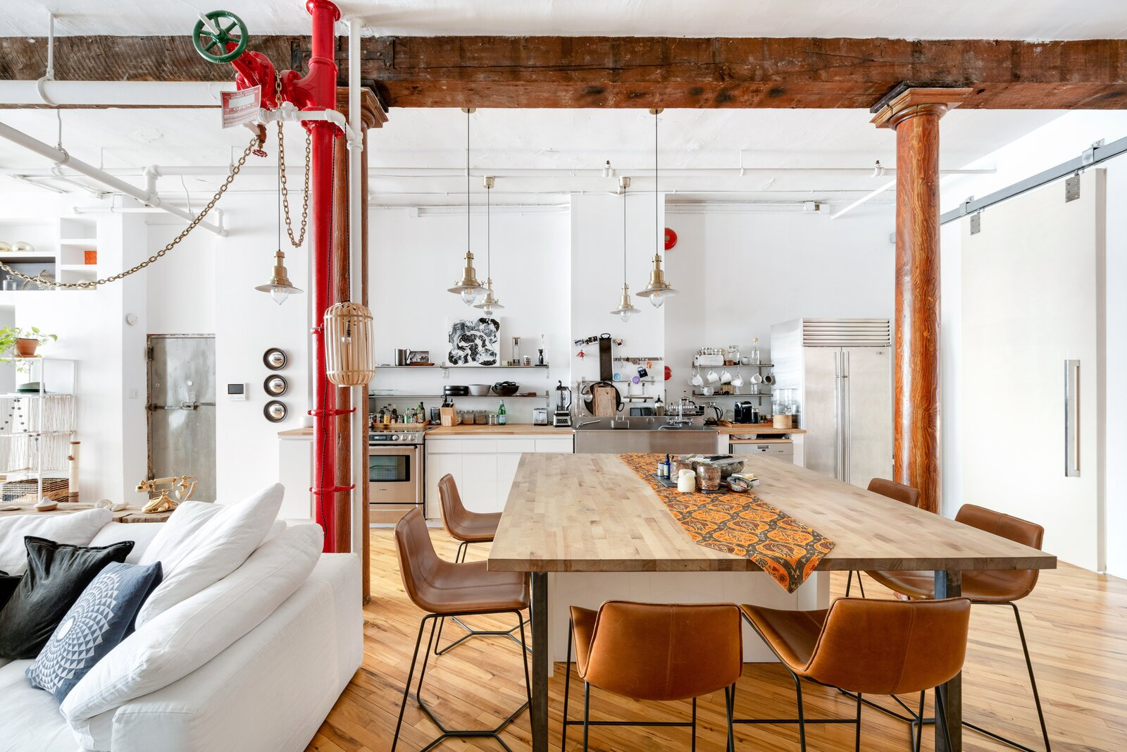 Dining Room, Medium Hardwood Floor, Table, Pendant Lighting, and Chair  Dwell's Favorite Photos from A Quintessential Soho Loft in New York City Asks $4.3M