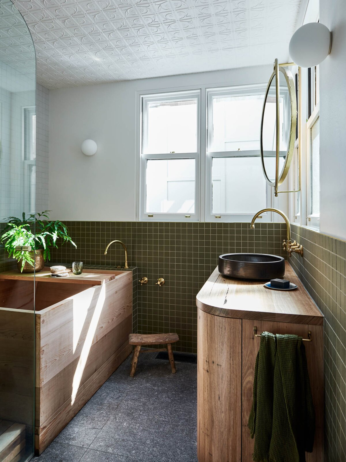 Bath, Wood, Mosaic Tile, Wall, Soaking, and Vessel  Dwell's Favorite Bath Photos from A Cramped Melbourne Victorian Gets an Earthy Refresh Inspired by the Australian Bush