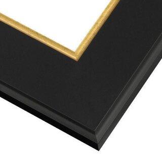 Pictureframes.com Modern Black Picture Frame with Gold Lip