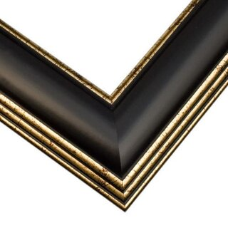 Pictureframes.com Black Satin with Gold Picture Frame
