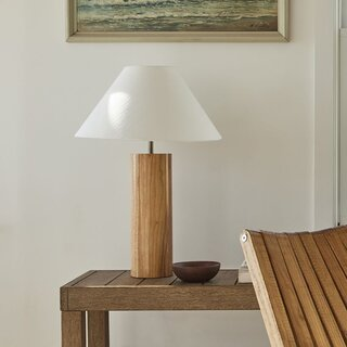 West Elm Modern Wood Column Table Lamp