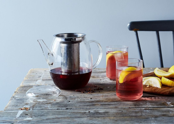 Iced Tea Glass Pitcher with Steel Filter