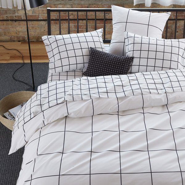 Unison Grid Black Duvet Cover