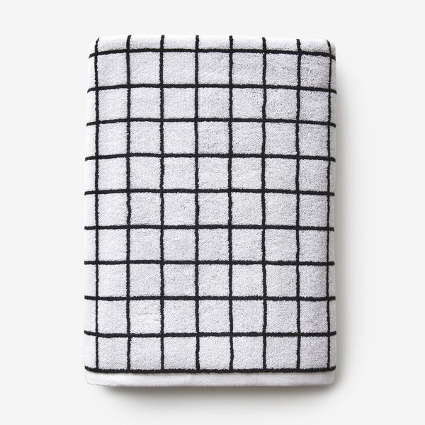 Mini Grid Black + White Bath Towel