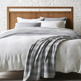 Spencer Chambray + Savile Stripe Reversible Duvet Cover