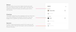 With the story tool, you can define separately the writers, publisher, and sponsor for each article.