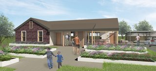 The winning design highlights community interaction. Planter beds in the front yard not only give the residents the opportunity to take up gardening (a hobby with proven benefits for the elderly), but the garden also has the potential to become a communal space that invites neighbors' participation.