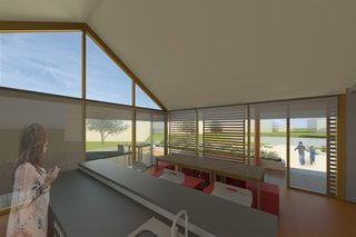 In addition to the exterior sun screens, interior shades can be lowered to limit exposure and visibility when desired.